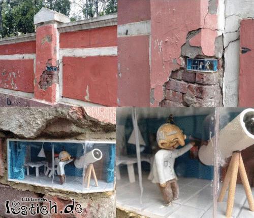 Geflickte Mauer als Street Art