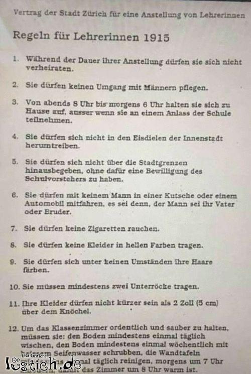 Regeln für Lehrerinnen 1915