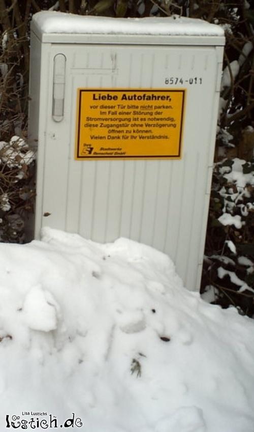 Bitte nicht vor dem Stromkasten parken