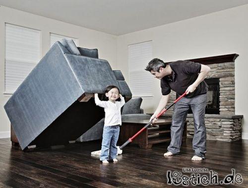 Ich helfe beim Saubermachen