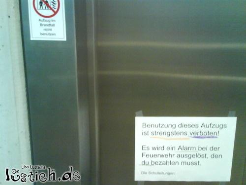 Im Brandfall nicht benutzen