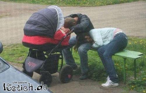 Erschöpfte Eltern