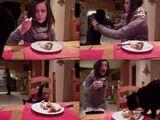 Essen mit Katze